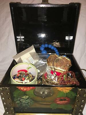 100 Pieces Vintage + Modern  Jewelry lbs Necklaces Earrings Box Not Junk Drawer
