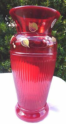 Fenton Ruby Red Vase Hand Painted Signed Art Glass Combed Ribbed Leaves Berries