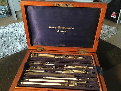Antique George Rowney And Co. London Boxed Technical Drawing Instruments In Orig