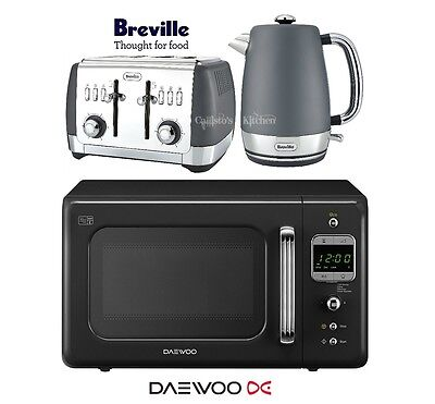 Grey Breville Strata Kettle and Toaster Set & Black Daewoo Retro Microwave New