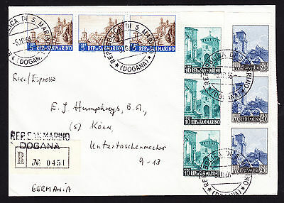 1966 Rep Di San Marino stamps on registered cover from Dogana to Koln Germany