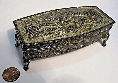 Antique Japanese Silver Jewelry Box Footed Ornate DRAGON Lid Lined Trinket Chest