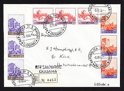 1966 San Marino stamps on registered cover from Dogana to Koln Germany R-Brief