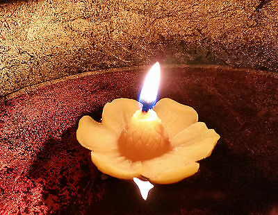 2 / 3 / 5 Floating beeswax candles * 100% Natural *Celebration Flowers Pure