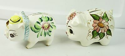"Lot of 2 Vintage Ceramic Piggy Banks With Painted Flowers 5"" Long Tail Broken"