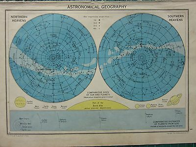 1942 Map ~ Astronomical Geography Constellations Planet Size Comparison