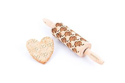 Junior elephant pattern – Engraved rolling pin for cookies embossing roller