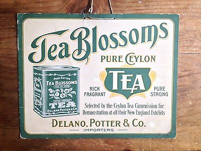 Vintage Tea Blossoms Ceylon Tea Original Advertising Sign - Delano & Potter Co.
