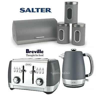 Breville Strata Kettle and Toaster + Salter Marble Canisters & Bread Bin Grey