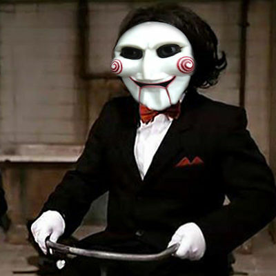 Jigsaw Billy Saw Horror Halloween Costume Face Mask Scary Puppet Killer Cosplay