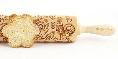 Folk rooster pattern – Engraved rolling pin for cookies embossing roller