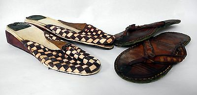 2 PAIR Vintage Antique Handmade Leather Shoes And Sandals RARE