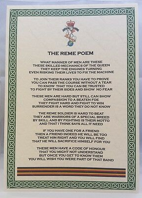 Royal Electrical and Mechanical Engineers Poem British Army Corps Regiment REME