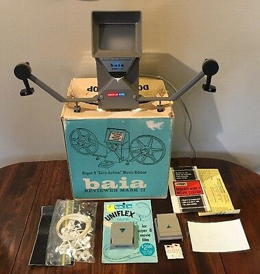 """Vintage BAIA Super 8 """"Live Action"""" Movie Editor Reviewer Mark II W/Box"""