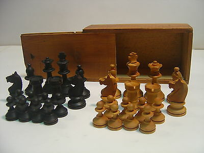 Very old Staunton boxwood chess pieces. Nice detail. 25mm Pawn. 58mm King.