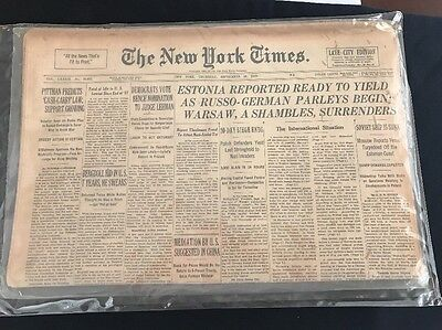 WWII New York Times Late City Edition Sept.28 1939 Historical Newspaper COA