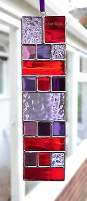 Stained Glass Art Colourblocks Suncatcher Reds and Purples by The Glass Sea