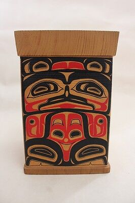 Steam-Bent Wood Box | 'Bear' design | Northwest Coast, Native
