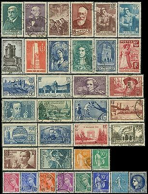 FRANCE Lot de 36 Timbres/stamps 1938 Oblitéré/Used  (num:Yt,Sc,Mi)