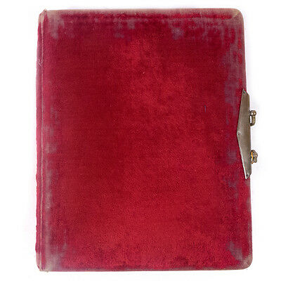 "Antique Victorian Soft Red Velvet Hardcover Photo Book Album 8.0"" x 10.25"""