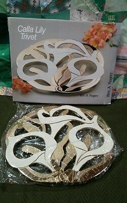 Vintage Calla Lily Trivet Wm A Rogers 53 8309 Oneida Silversmiths Unused In Box