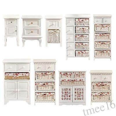 White Wicker Basket Cabinet Chest Of Drawers Storage Unit Shabby Chic Bedroom