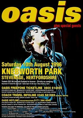 OASIS Knebworth Park - 10th August 1996 PHOTO Print POSTER Morning Glory Band 31
