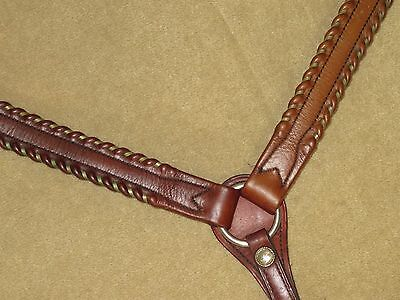 L@@K~Beautiful & HIGH QUALITY Western VINTAGE SILVER LACED Leather Breast Collar