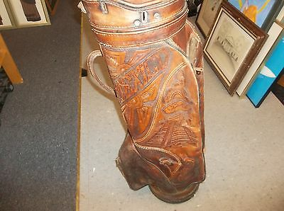 Vintage Antique Embossed Leather Golf Bag Indian Picture