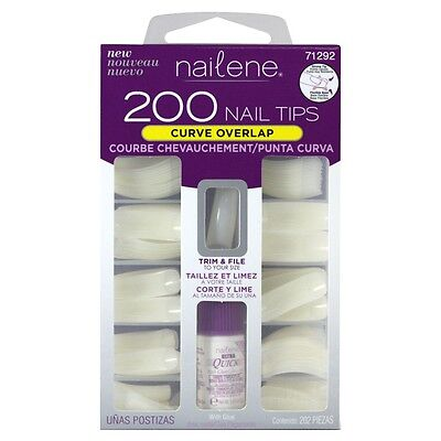 nailene 200 nail tips in curve overlap - trim & file to your size flexible base