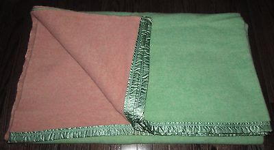 "Vtg Ayers  Green/pink100% Pure Wool Blanket  Made In Canada  70""x84"""