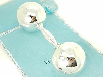 DAMAGED Tiffany & Co. Sterling Silver Large Dumbbell Baby Rattle Teether Pouch