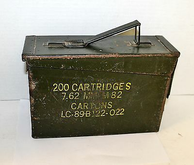 Vintage Military Ammo Box Military Green 200 Cartridges Size