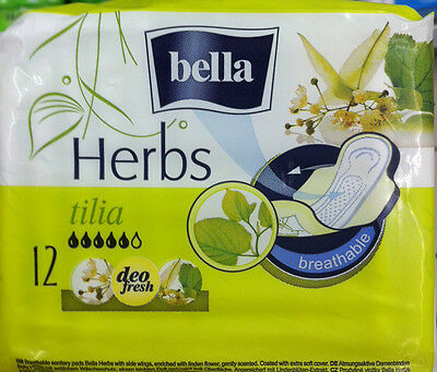 4x packets of Bella Herbs Tilia Sanitary towels ( 12x pads in each pack =48)