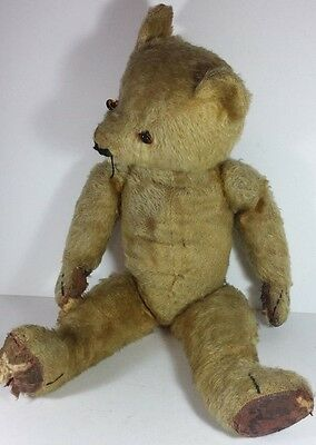 """Old Vintage Articulated Playworn Mohair Teddy Bear Toy - 18"""" Tall Needs Repair"""