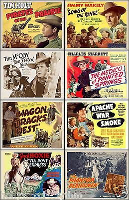 LOT Of 8 Western 11x14 TITLE CARD And HALF SHEET Prints HOLT McCOY STARETT +