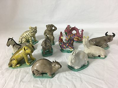 Set of 11 Chinese Zodiac Porcelain Animals, Qing Dynasty, 19th Century, Signed