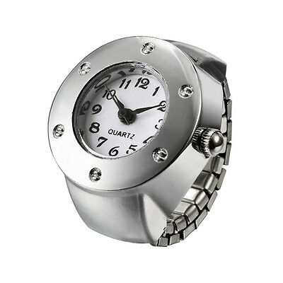 White Rhinestone Steel Round Elastic Finger Ring Watch Quartz Ladies