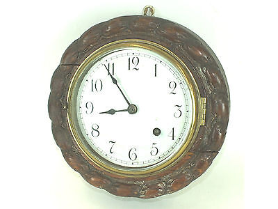 "Rope Carved Oak Circular Case Platform Escapement Timepiece Wall Clock G W O 9""D"