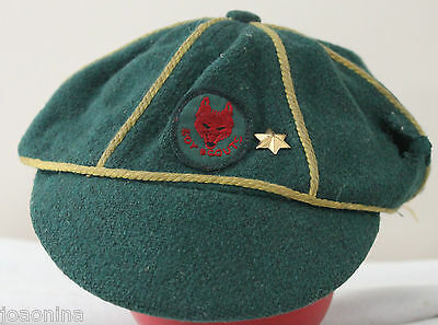 1950s GREEN WOOL WOLF CUB CAP (RED PATCH 1 STAR) BOY SCOUTS CANADA VINTAGE HAT