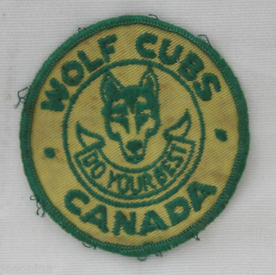"Late 1950s WOLF CUBS CANADA ""DO YOUR BEST"" CLOTH PATCH BOY SCOUTS CANADA vintage"