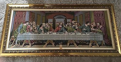 Vintage Tapestry Jesus Last Supper Made in Italy W/an Ornate Gold Wood Frame