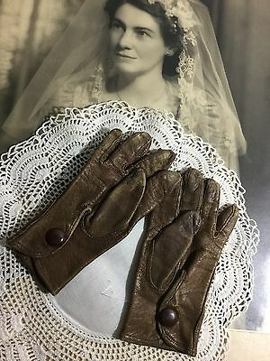 Antique Victorian Childrens Childs Doll Leather Pair Of Gloves