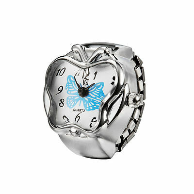 Blue Butterfly Shape Silver Steel Case Fashion Finger Ring Watch Lady Girl