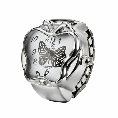 White Butterfly Shape Silver Steel Case Fashion Finger Ring Watch Lady Girl