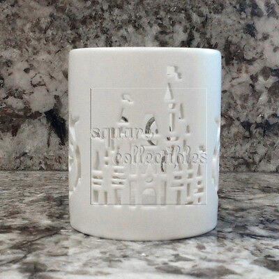 Disney Parks Castle Silhouette Candle White Holder with Hidden Mickey design