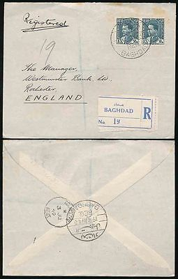IRAQ 1940 REGISTERED to ROCHESTER GB UNCENSORED