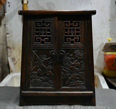"""14"""" Rare Antique Ancient Chinese Huali Wood Dynasty Palace Cupboard Cabinet Box"""