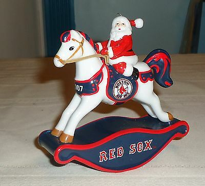 Collectible Boston Red Sox 2007 Santa On Rocking Horse Christmas Ornament
