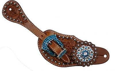 Showman Ladies Size Tooled Leather Spur Straps with Blue Rhinestone Conchos!